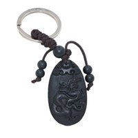 Wholesale Black Keys Signed - 3rd Listing Twelve Chinese Zodiac Signs Ebony Wood Man Lucky Key Ring Women Chinese Tradition Key Finder Amulet Purse Lucky Charm SPXM0037