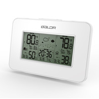 Compra Temperatura Dell'umidità Dell'orologio-Bianco Baldr Stazione Meteo Orologio Indoor Temperatura Umidità Display Previsione meteo wireless Allarme Snooze Blue Backlight