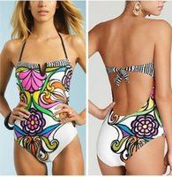 Wholesale Cheap Swimwear For Women - 2016 Cheap Wholesale Flower Print Swimwear for women monokini one piece swimsuit Halter straps bathing suits