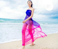 купальники пляж шарф оптовых-Scarves Beach Pareo Summer Women Two Tone Chiffon Shawls Scarf High Fashion 2018 Swimwear Bikini Cover Up Hawaiian Sarong Dress