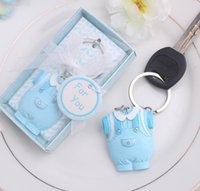 Wholesale Keychain For Baby Shower - 100pcs lot Baby Shower Favors and Gift Cute Baby Clothes Key Chain Blue pink Themed Keychain for boy DHL Fedex Free Shipping