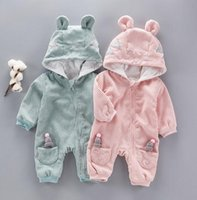 Wholesale Baby Outwear Clothing - 2 colors INS Newborn Baby kids fall long sleeve round collar with cap zipper romper 100% cotton kids boy clothing outwear romper free ship