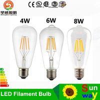Wholesale B22 6w Cree Bulb - Newly Edison LED filament bulbs lights e27 B22 4W 6W 8W AC110V-240V warm white  ool White Transparent glass led bulbs