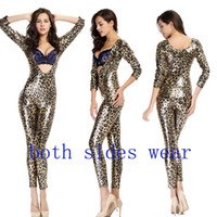 Wholesale Leather Catsuit Hot - Hot Sale High Quality Both Side Wear Women Sexy Leopard Faux Leather Vinyl Bodysuit Catwoman Catsuit Halloween Zentai Bodysuit Cosplay
