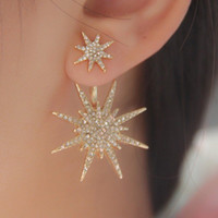 Wholesale Coloured Earrings - 1 Pair Women's Fashion Jewelry Lady Crystal Rhinestone Dangle Gold Colour Earrings Star Ear Stud Earring For Women Accessories