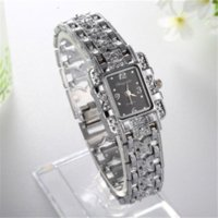 Wholesale Vintage Rhinestones Mm - NEW Vintage Women Ladies Royal Fashion Square Dial Silver Stainless Steel Casual Bracelet Rhinestone Dress Watches Time Quartz