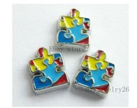 Wholesale Wholesale Autism Charms - 10PCS Autism awareness Floating Charms Fits For Glass Living Memory Locket FC154