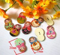 Wholesale Russian Dolls Buttons - 200pcs 19x30mm 2 Holes Mixed Russian Dolls Painted Wooden Buttons for craft handmake Scrapbooking botones botoes M63305