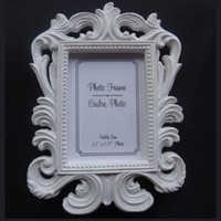 Wholesale resin photo frame picture - Victorian Style Resin White&Black Baroque Picture Photo Frame Place Card Holder Bridal Wedding Shower Favors Gift ZA1230