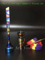 Wholesale Tools Nail Straight - Bong Tool Set Anodized Colorful Domeless Gr2 Titanium Nail Rainbow Carb Cap Dabber Slicone Jar for Glass Water Pipes