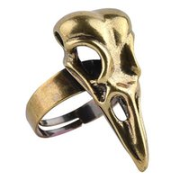 Wholesale Cool Rings For Men - Bird Skull Ring For Men Punk Style Jewelry Unisex Adjustable Cool Bird Crow Head Skeleton Ring Wholesales High Quality gothic rings men