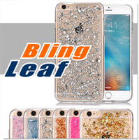 Wholesale Design Bling Case - For Iphone 8 7 6 6s Case Soft Clear Cases Luxury Bling Sparkle Faceplate Leaf Design Semi-transparent Flexible Soft TPU Protective Case