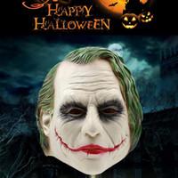 ingrosso batman cosplay-Maschera di Joker Realistica Batman Costume da Clown Maschera di Halloween Cosplay per adulti Film Full Head Latex Party Mask