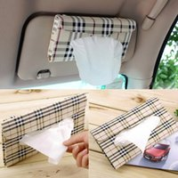 Wholesale Napkins Box Cover Case - Tissue box cover Car sun visor Tissue box Auto accessories holder Paper napkin clip- PU leather Case