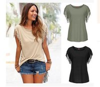 glands livraison gratuite achat en gros de-Été Européenne Fille T-shirt Vêtements À Manches Courtes Glands T-shirts Pour Les Femmes En Gros Solide couleur Femme T-shirts Livraison Gratuite