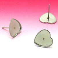 Wholesale Earring Tray Diy - 12mm Blank Earrings Settings Heart Bezel tray Cameo Bases Stainless Steel stud Earrings post w  Stopper Ear Nuts DIY Findings
