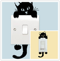 autocollants muraux de commutateur de chat achat en gros de-Wall Decor Cat Stickers Muraux Interrupteur de Lumière Décor Art Mural Nursery Room Décorations Fonds d'écran Pour Enfants Chambres Princesse Wall Decals