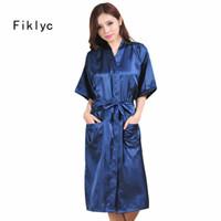 Wholesale Hot Nightwear For Women - Wholesale- new arrival 2016 plus size S M L XL XXL bathrobes for women free shipping kimono nightwear robes silk satin long sleepwear hot