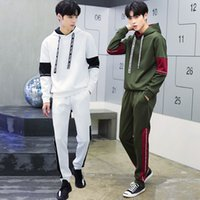 Wholesale Mens Shirt Pants Suits - New Fall spring new men's pullover sweater T-shirt +pants fashion casual sportswear men suit jacket mens tracksuits sport suits