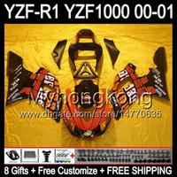 kit de carenagem yzf r1 laranja preto venda por atacado-8Presentes + Carenagem Para YAMAHA Repsol YZF-R1 R1 00-01 YZFR1 YZF1000 Y99260 YZF R 1 YZF 1000 2000 2001 Laranja vermelho preto YZF R1 00 01 Carroçaria Kit