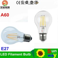 Wholesale Led A19 Dimmable - A60 LED Filament Bulb Classic Edsion Led Bulb Edison Type A19 Dimmable Filament Led Bulb Light 2W 4W 6W 8W E27 Bulbs AC85~265V