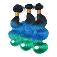 18 zoll brasilianische weblänge großhandel-8A Ombre Haarverlängerungen Drei Ton 1B / Blau / Grün Ombre Brasilianische Körperwelle Wellenförmige Menschliche Haarwebart 3 Bundles Gemischte Länge 10-30 Zoll