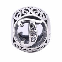 Openwork Vintage T Charms Beads 925-Sterling-Silver AAA CZ Alphabet Letters T Beads Para Jóias Europeias Diy Brand Logo Braceletes BF54