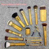 Wholesale Brow Set Kit - Brand 16 pcs set Tarte makeup brushes blending powder contour eye brow bamboo foundation make up kabuki brush kit pinceis maquiagem.