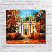 Wholesale House Picture Frames - Free Shipping House Landscape Oil Painting Living Room Wall Decor Hand Painted Canvas Picture No Framed
