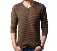 Wholesale Men Dress Sweaters - 2016 Autumn Winter Brand Casual V-Neck Sweater mens Cashmere Wool Slim Pullover christmas sweater men Dress Knitted Sweater free shipping