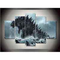 Wholesale Canvas Printings Godzilla Movie Painting Wall Art Home Decoration Poster Canvas Unframed