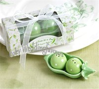 Wholesale Salt Pepper Green - FREE SHIPPING 50sets 2Peas in a Pod Ceramic Salt & Pepper Shakers in Gift Box Wedding Favors Bridal Shower Party Table Decor Supplies