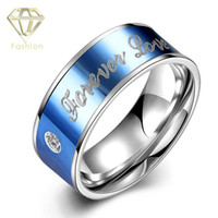 Wholesale Titanium Rings Blue Stones - Engagements Rings Male Style Silver Plated 316L Titanium Steel Couple Ring Forever Love Letters Engraved Stone Blue Jewelry