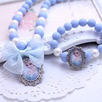 Wholesale Kids Beads For Bracelets - Latest Princess Beads Necklace Bracelet Jewelry Set Christmas Gift for Girls Baby Child Kids Jewelry Accessories Collier Choker