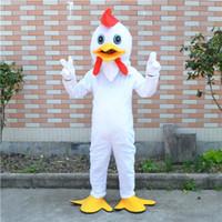 trajes personalizados pollo al por mayor-2016 traje de mascota de pollo blanco personaje de dibujos animados personalizado cosply adulto tamaño carnaval disfraz navidad y fiesta de Halloween disfraces