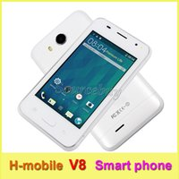 Wholesale Dual Sim 4inch - H-mobile V8 Android4.4.2 2G Unlocked 4inch Smartphone Single Core 800*480 Dual SIM Cameras Wifi BT 256MB Mobile Cell phone Free shipping