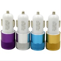 Wholesale Car Charger 12v Output - Aluminium alloy LED lights Dual USB Car Charger 2-port Aluminum Mini Adapter 12v 2.1A 1.0A