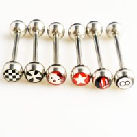 Wholesale Tongue Piercing Logo - 12 PC Hello Kitty   Star Logo Tongue Ring 16mm 19mm 316L Stainless Steel Barbell Ear Stud Tongue Piercing Body Jewelry 8224