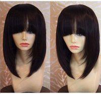 Wholesale big virgin black lady online - Lace Wig Human Hair Wigs For Black Women New Bob Hairstyle Brazilian Virgin Hair Lace Front Human Hair Wigs Glueless Full Lace Wigs