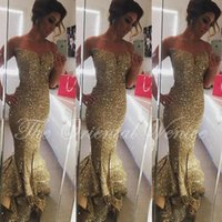 Wholesale Strapless Fishtail Evening Dress - Sparkly Gold Sequined Mermaid Prom Dresses 2016 Vestidos de Formatura Ruffle Fishtail Formal Celebrity Gowns Long Evening Dress Party Gowns