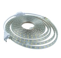 SMD 5050 AC220V LED Strip Flexible Light 60leds / m IP68 Waterproof Led Tape 50M / lot + Power Plug, Branco / Verde / Azul / Vermelho / Amarelo / RGB
