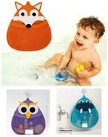 Wholesale L Type Tools - Bath Toy Storage Net Bag Cartoon Owl Fox Hippo Bathroom Tidy Organizer Baby Kids Shower Accessories