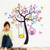 bebek kreş baykuş duvar çıkartmaları toptan satış-Baykuş Kuş Salıncak Ağacı Duvar Çıkartmaları Ağacı Duvar Çıkartmaları Karikatür Çocuk Odaları için Ev Dekor Çocuk Bebek Kreş Odaları