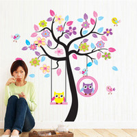 Wholesale swing wall resale online - Owl Bird Swing Tree Wall Stickers Tree Wall Decals Cartoon Home Decor for Kids Rooms Children Baby Nursery Rooms