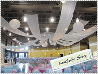 Wholesale Ceiling Draping Fabric - Free shipping  70cm*10m Wedding Ceiling fabric Canopy Drapery  White Luxury party Roof drapes
