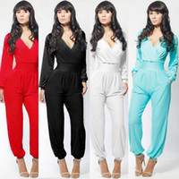 Wholesale Led Jumpsuits - Bodycon jumpsuit womens Promotion Fashion V Lead Bandage Culotte Autumn And Winter Suit-dress amp rompers maxi dress v-neck blue Low price
