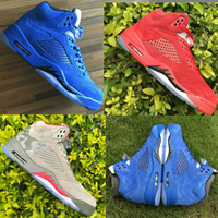 Wholesale Blue Reflective Fabric - New Air Retro 5 V Raging Bull Red Suede Blue Reflective camo Men Basketball Shoes Sports Sneakers Wholesale Free Shipping Size 8-13