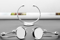 Wholesale Silver Plated Bezel Bracelet Blanks - 20pcs Wholesale Silver Plated Cuff Bangle&Bracelet Bezel Blank w Inner 25mm Setting Tray for Glass Cabochon