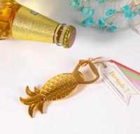 ingrosso souvenir sposo sposo-2016 nuovo regalo di nozze in lega d'oro Apri bottiglia di birra Ananas apribottiglie Un luminoso e colorato souvenir di sposi
