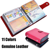 Wholesale Men Checkbook Case - 2015 new 100% Genuine Leather Business Credit Card Case ID Card holder Checkbook Holder Case Wallet For Women Men 40 Slot Hasp